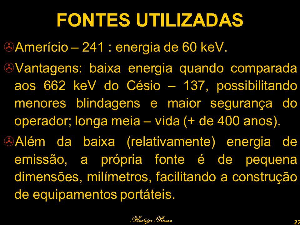 FONTES UTILIZADAS Amerício – 241 : energia de 60 keV.
