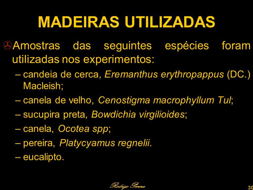 MADEIRAS UTILIZADAS Amostras das seguintes espécies foram utilizadas nos experimentos: candeia de cerca, Eremanthus erythropappus (DC.) Macleish;