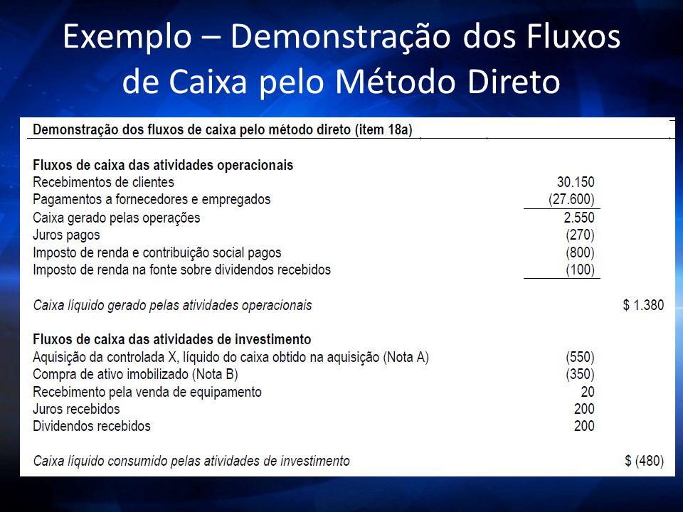 Exemplo – Demonstração dos Fluxos de Caixa pelo Método Direto