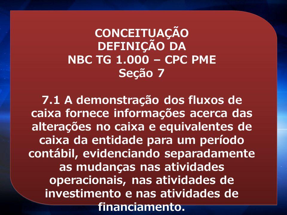 CONCEITUAÇÃO DEFINIÇÃO DA. NBC TG 1.000 – CPC PME. Seção 7.