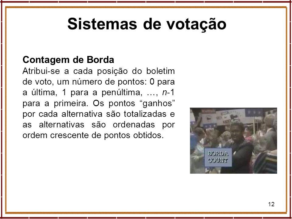 Sistemas de votação Contagem de Borda