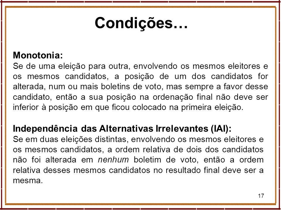 Condições… Monotonia: