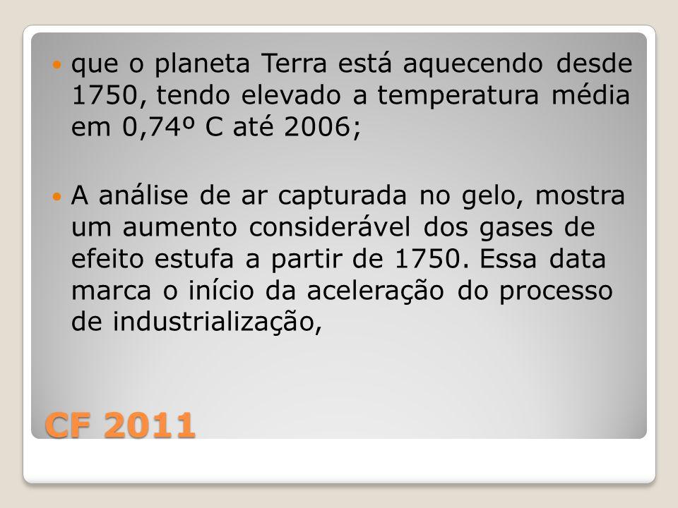 que o planeta Terra está aquecendo desde 1750, tendo elevado a temperatura média em 0,74º C até 2006;