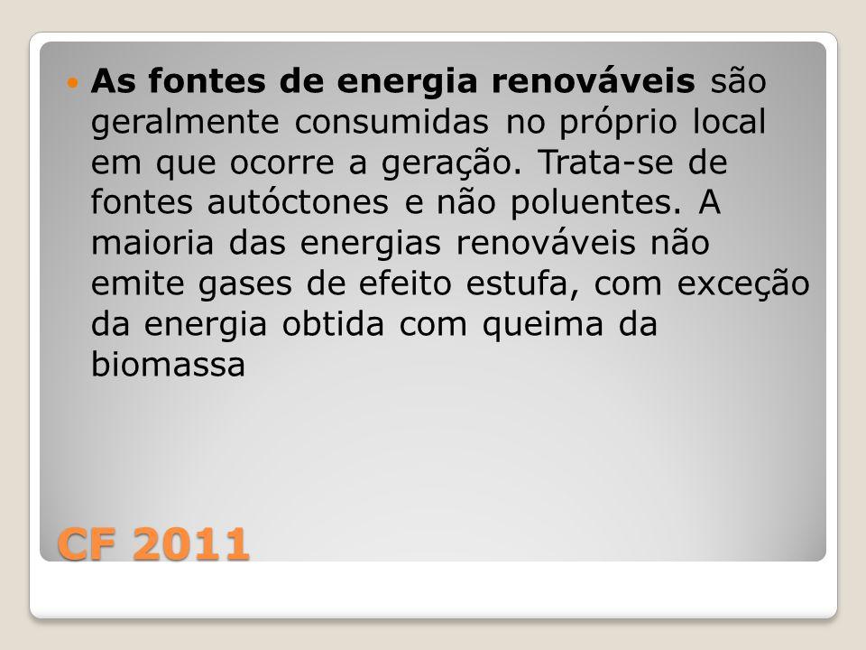 As fontes de energia renováveis são geralmente consumidas no próprio local em que ocorre a geração. Trata-se de fontes autóctones e não poluentes. A maioria das energias renováveis não emite gases de efeito estufa, com exceção da energia obtida com queima da biomassa