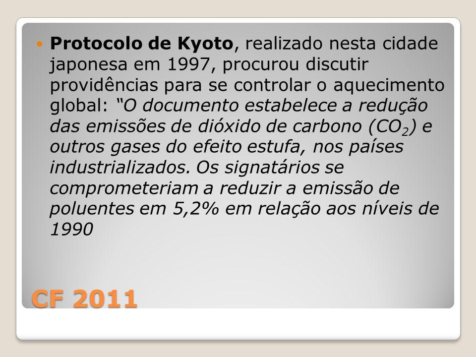 Protocolo de Kyoto, realizado nesta cidade japonesa em 1997, procurou discutir providências para se controlar o aquecimento global: O documento estabelece a redução das emissões de dióxido de carbono (CO2) e outros gases do efeito estufa, nos países industrializados. Os signatários se comprometeriam a reduzir a emissão de poluentes em 5,2% em relação aos níveis de 1990