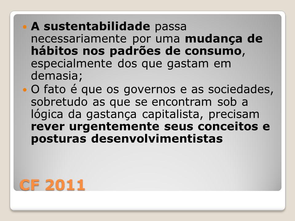 A sustentabilidade passa necessariamente por uma mudança de hábitos nos padrões de consumo, especialmente dos que gastam em demasia;