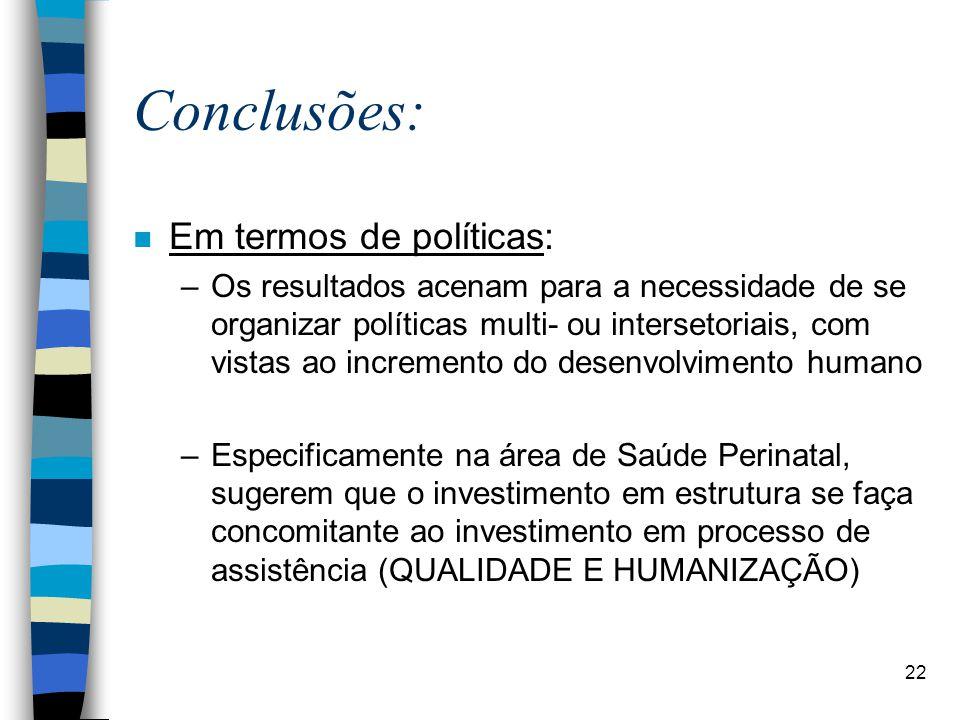 Conclusões: Em termos de políticas: