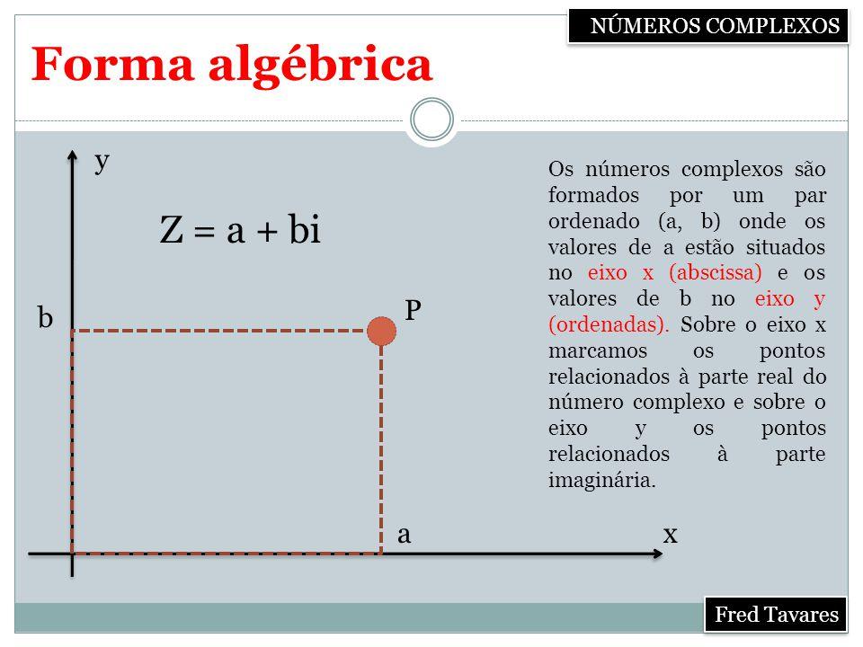 Forma algébrica Z = a + bi y P b a x NÚMEROS COMPLEXOS