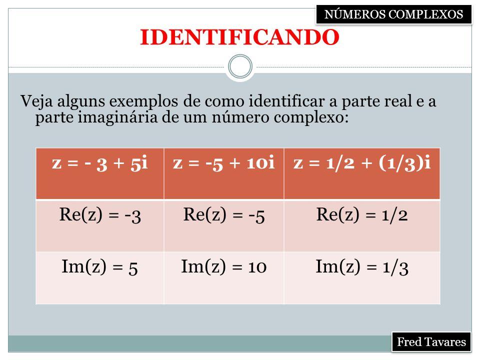 IDENTIFICANDO z = - 3 + 5i z = -5 + 10i z = 1/2 + (1/3)i Re(z) = -3