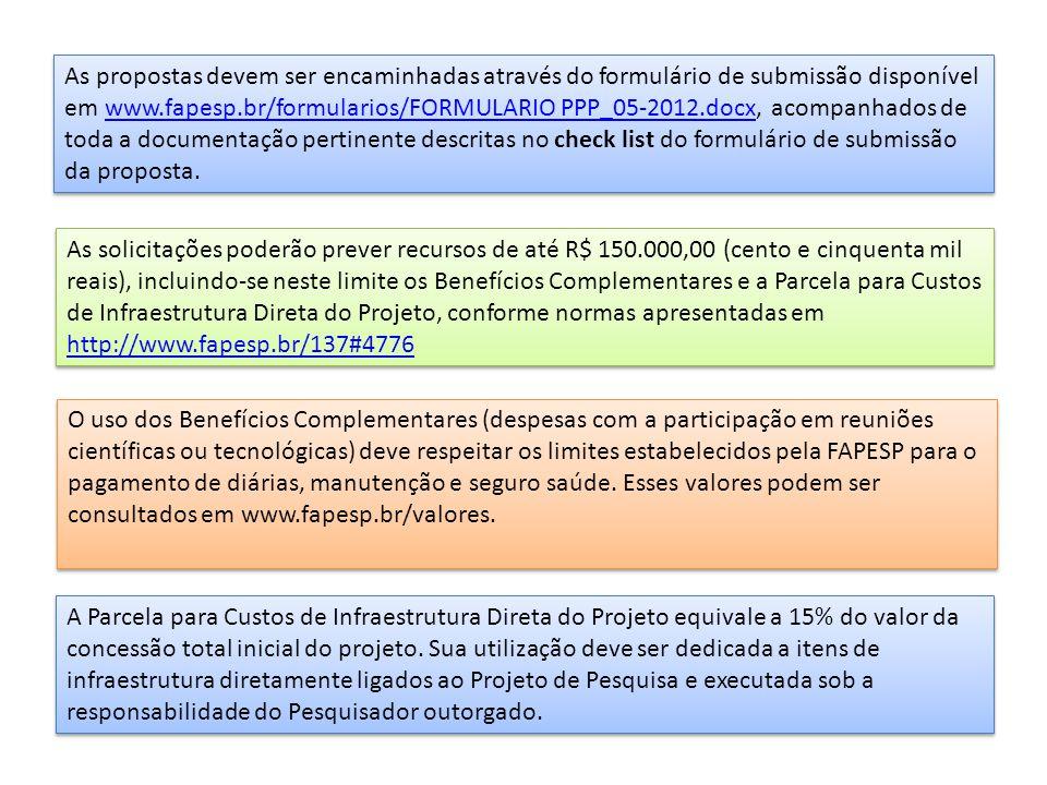 As propostas devem ser encaminhadas através do formulário de submissão disponível em www.fapesp.br/formularios/FORMULARIO PPP_05-2012.docx, acompanhados de toda a documentação pertinente descritas no check list do formulário de submissão da proposta.