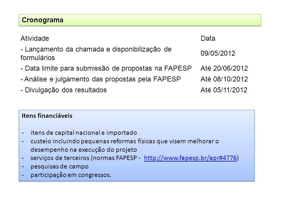 Cronograma Atividade. Data. - Lançamento da chamada e disponibilização de formulários. 09/05/2012.