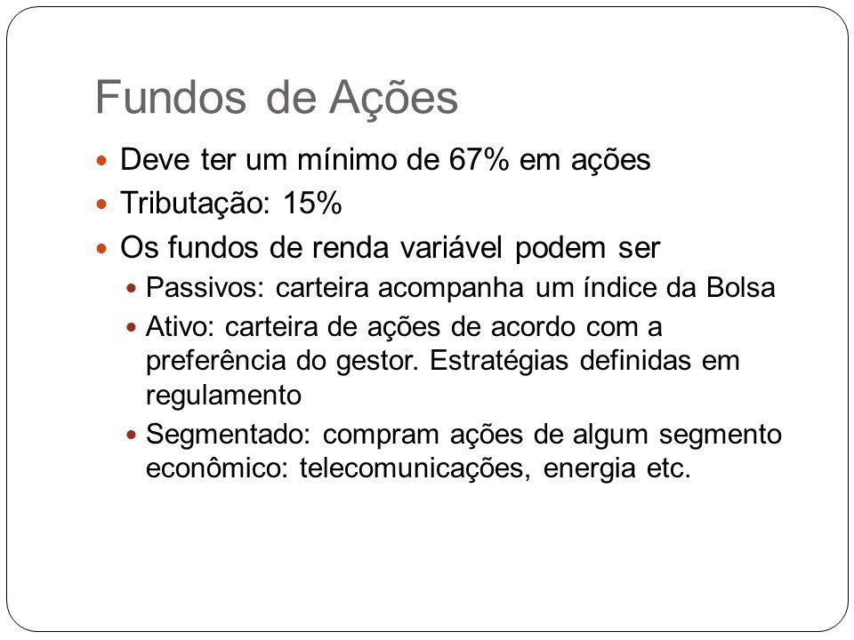 Fundos de Ações Deve ter um mínimo de 67% em ações Tributação: 15%