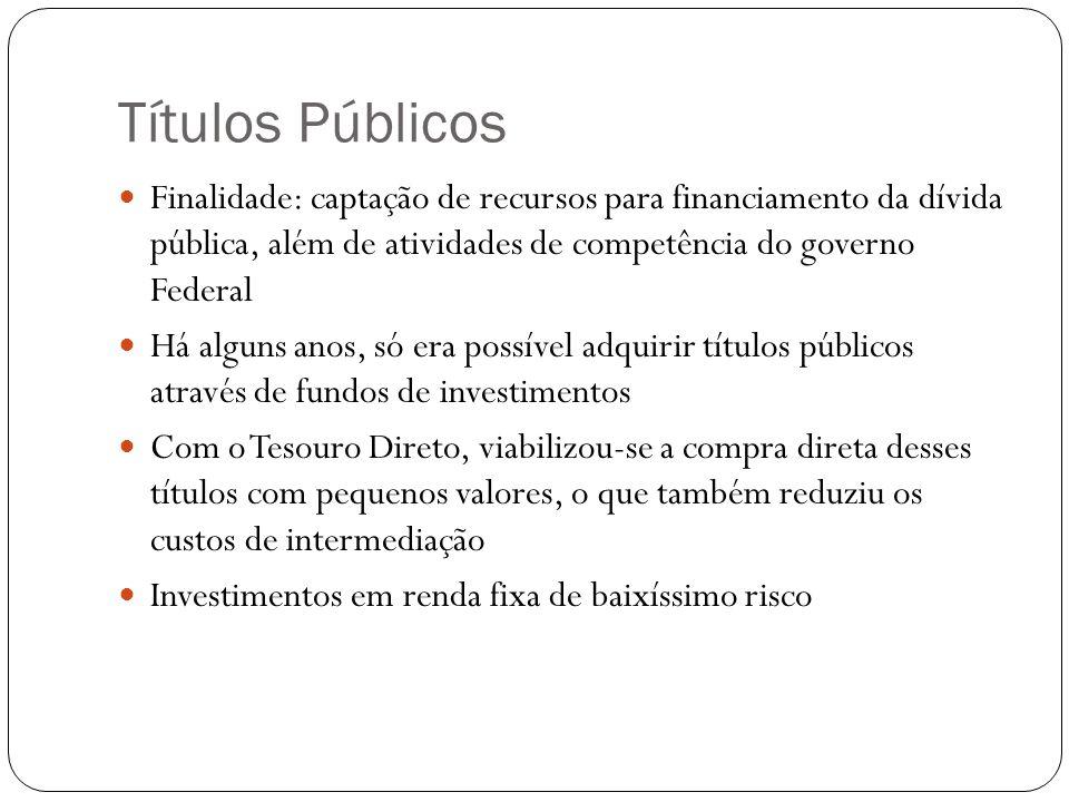 Títulos Públicos Finalidade: captação de recursos para financiamento da dívida pública, além de atividades de competência do governo Federal.