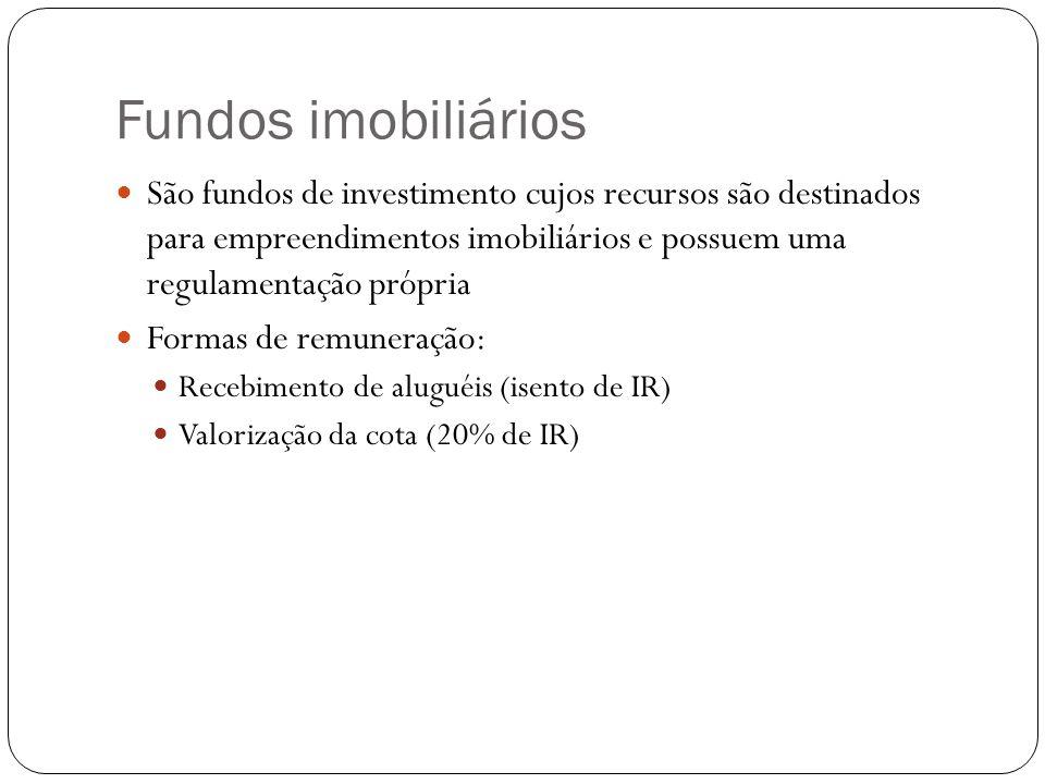Fundos imobiliários São fundos de investimento cujos recursos são destinados para empreendimentos imobiliários e possuem uma regulamentação própria.