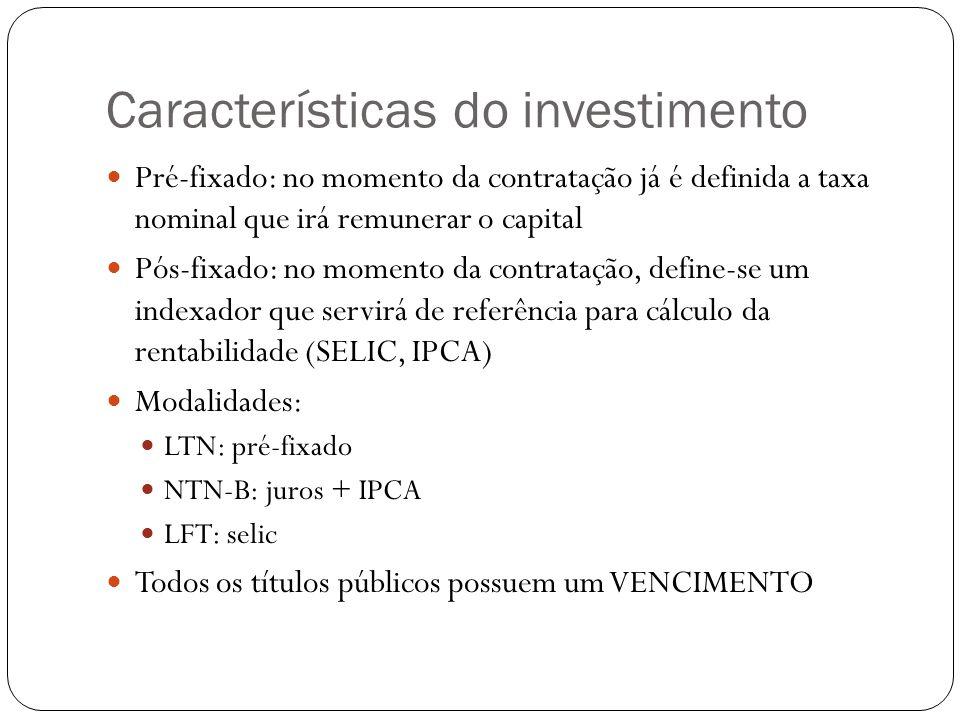 Características do investimento
