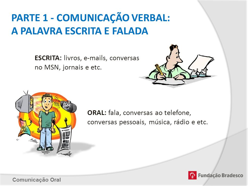 PARTE 1 - COMUNICAÇÃO VERBAL: A PALAVRA ESCRITA E FALADA