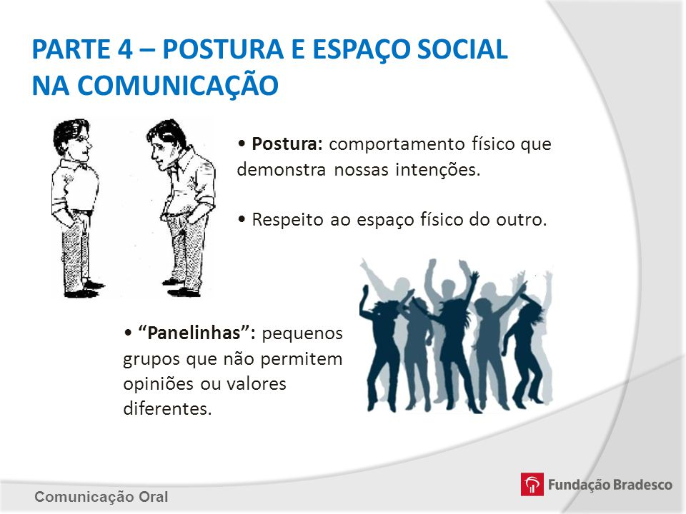 PARTE 4 – POSTURA E ESPAÇO SOCIAL NA COMUNICAÇÃO