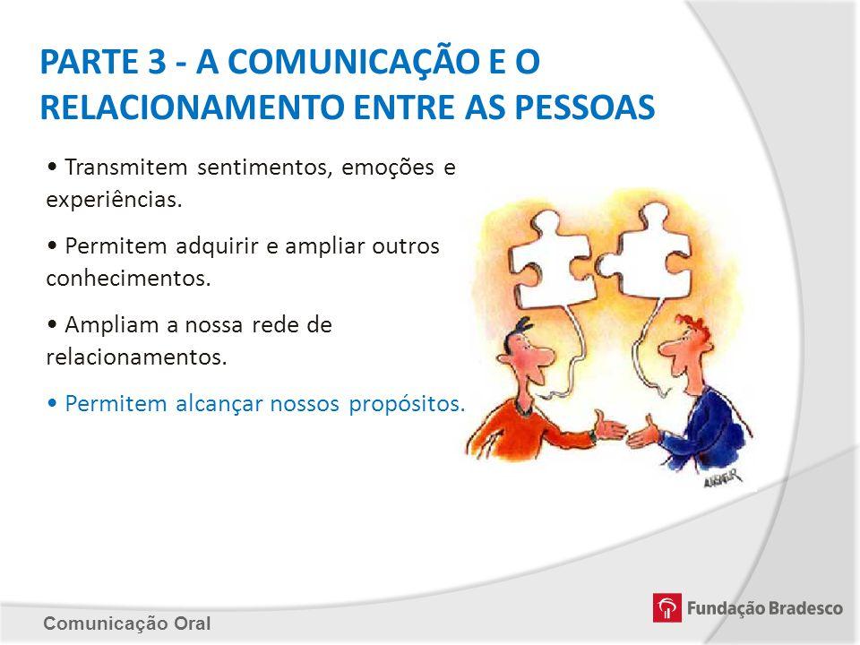 PARTE 3 - A COMUNICAÇÃO E O RELACIONAMENTO ENTRE AS PESSOAS