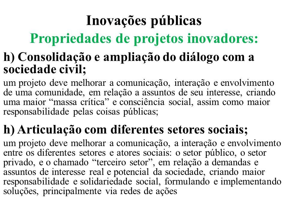 Propriedades de projetos inovadores: