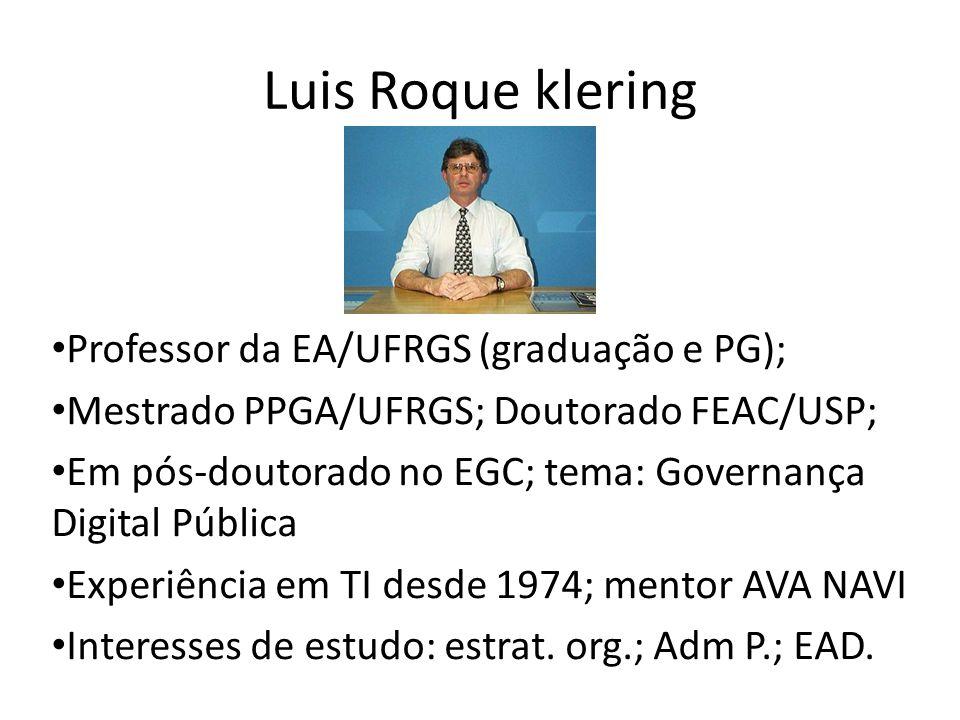 Luis Roque klering Professor da EA/UFRGS (graduação e PG);