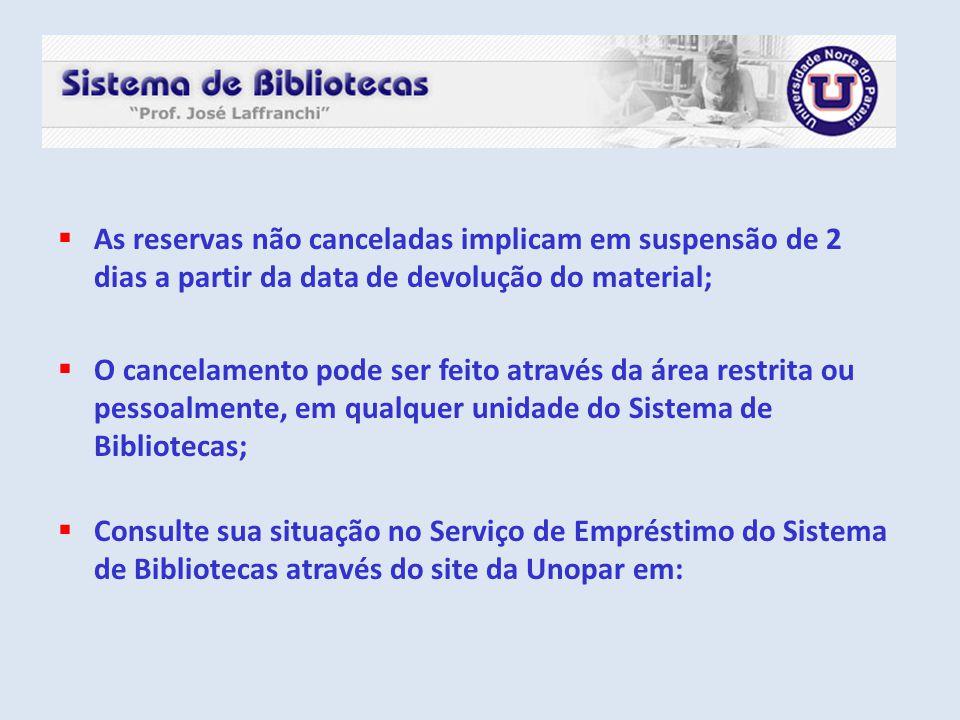 As reservas não canceladas implicam em suspensão de 2 dias a partir da data de devolução do material;