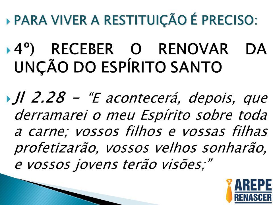 4º) RECEBER O RENOVAR DA UNÇÃO DO ESPÍRITO SANTO