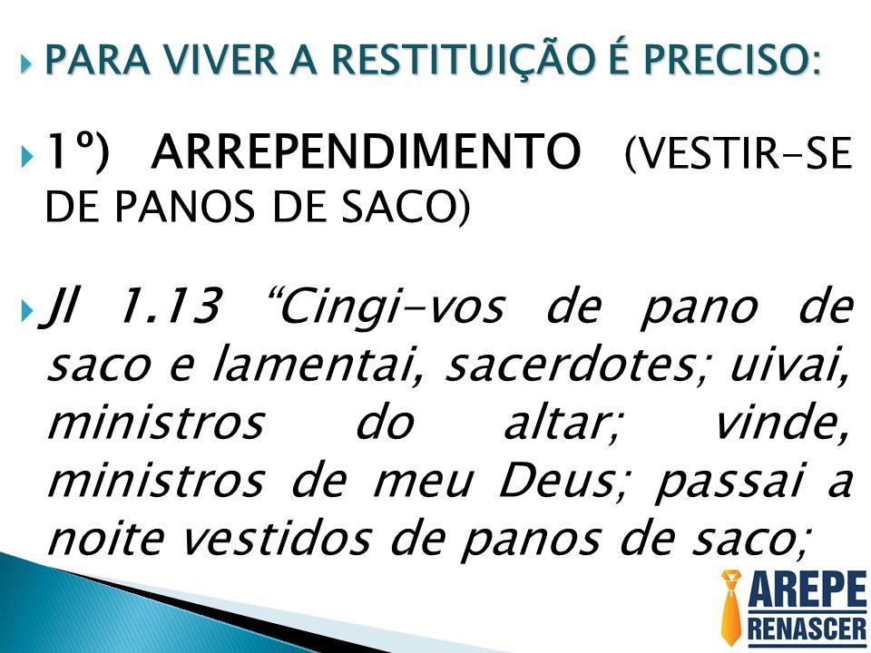 1º) ARREPENDIMENTO (VESTIR-SE DE PANOS DE SACO)
