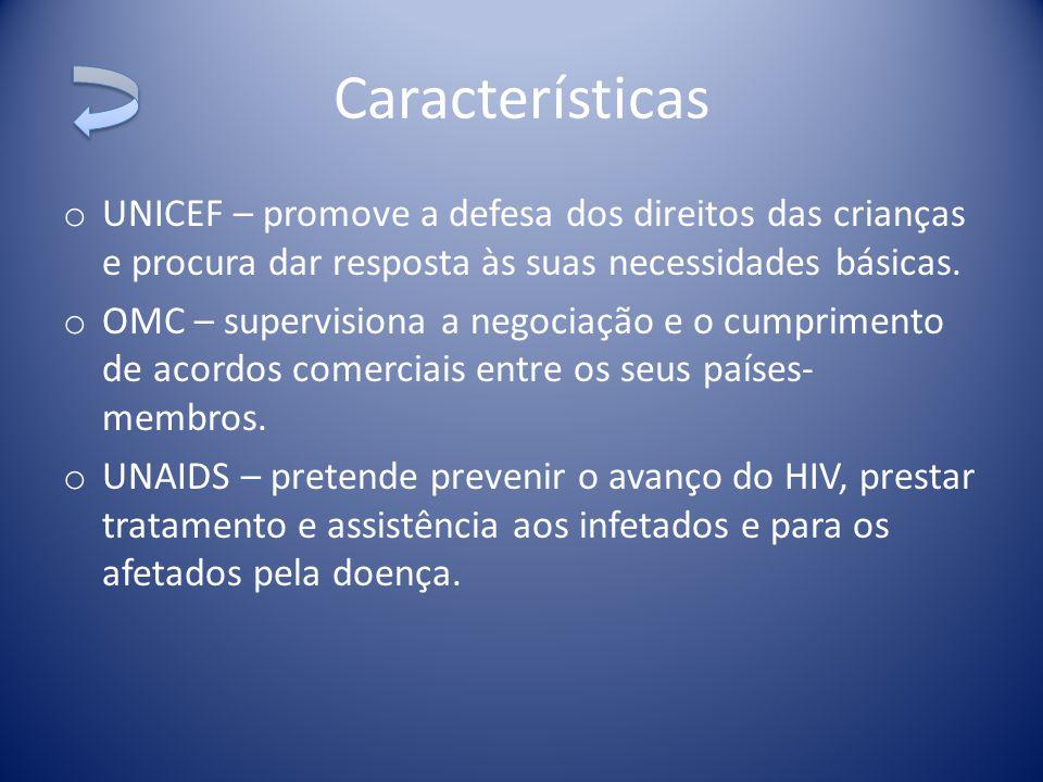 Características UNICEF – promove a defesa dos direitos das crianças e procura dar resposta às suas necessidades básicas.