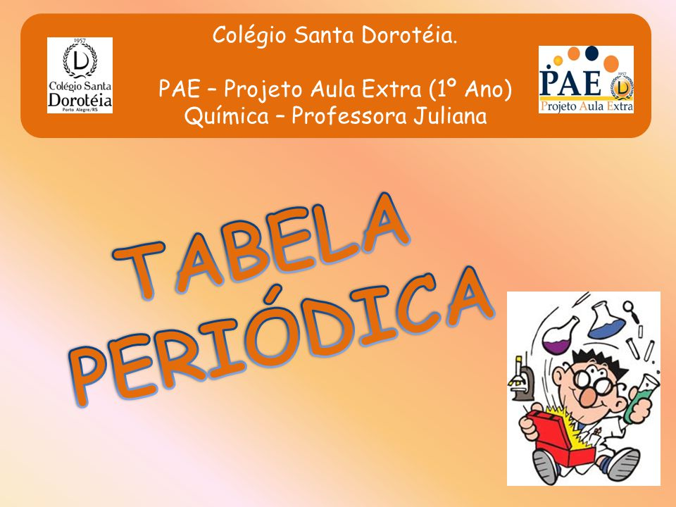 TABELA PERIÓDICA Colégio Santa Dorotéia.