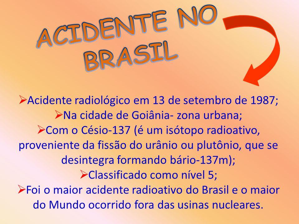 ACIDENTE NO BRASIL Acidente radiológico em 13 de setembro de 1987;