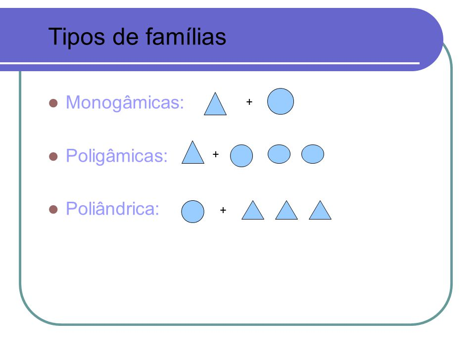 Tipos de famílias Monogâmicas: Poligâmicas: Poliândrica: + + +