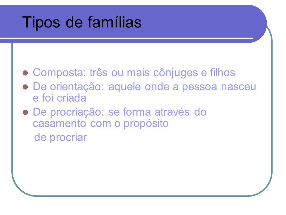 Tipos de famílias Composta: três ou mais cônjuges e filhos