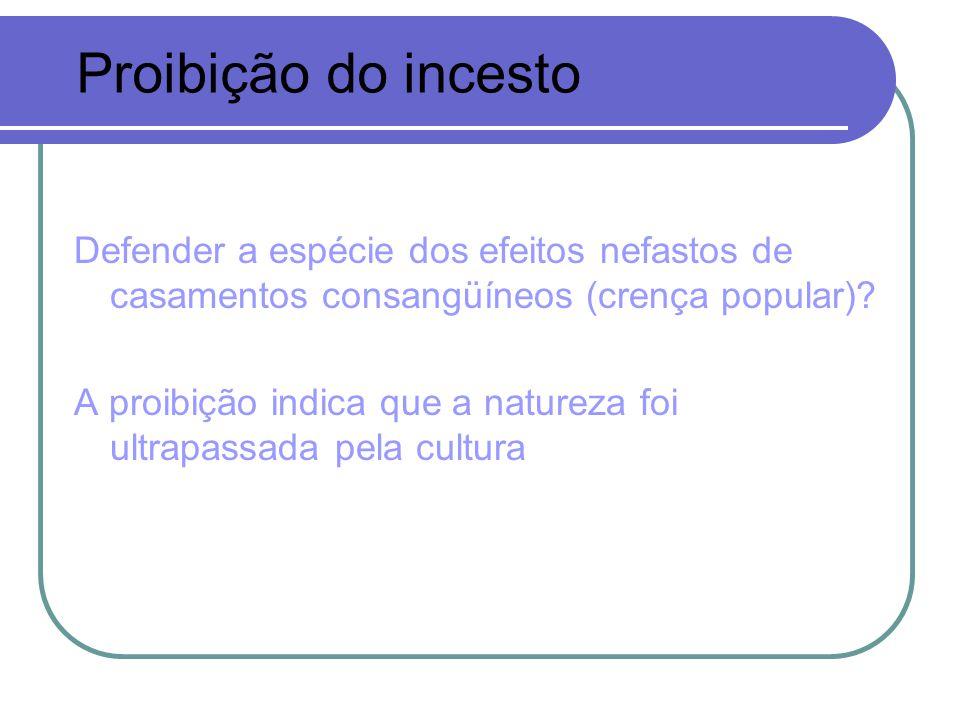 Proibição do incesto Defender a espécie dos efeitos nefastos de casamentos consangüíneos (crença popular)
