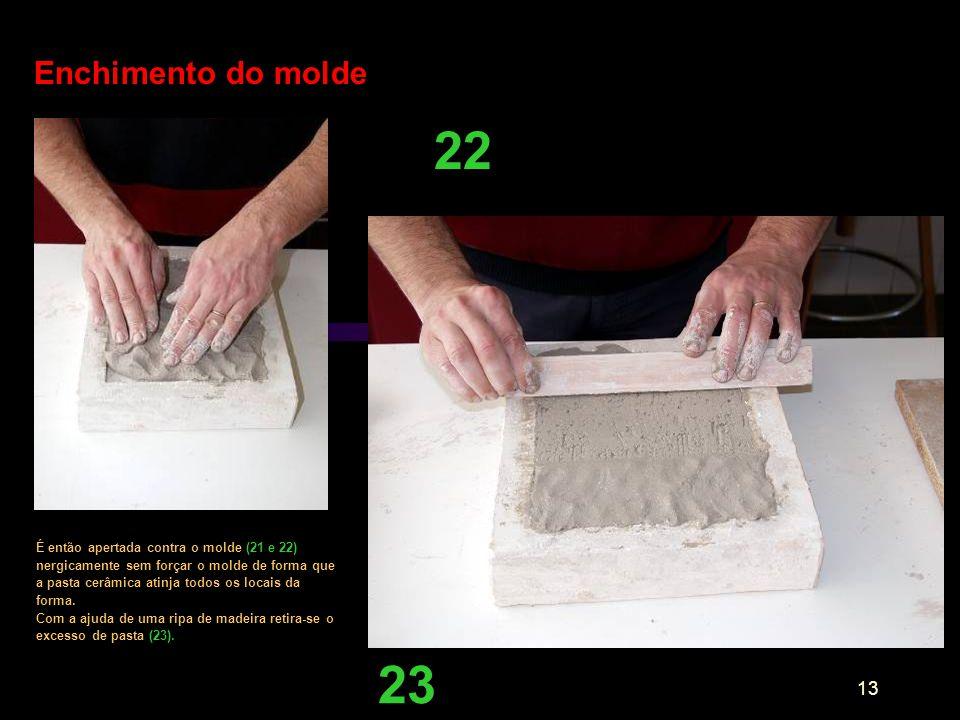Enchimento do molde 22.
