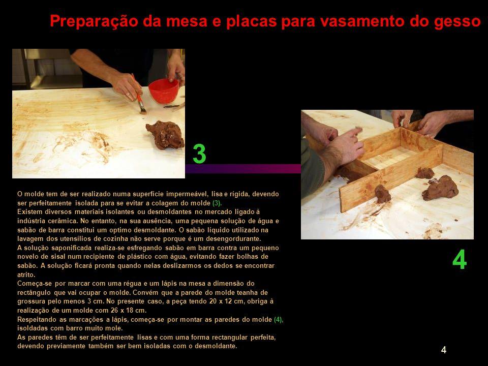3 4 Preparação da mesa e placas para vasamento do gesso
