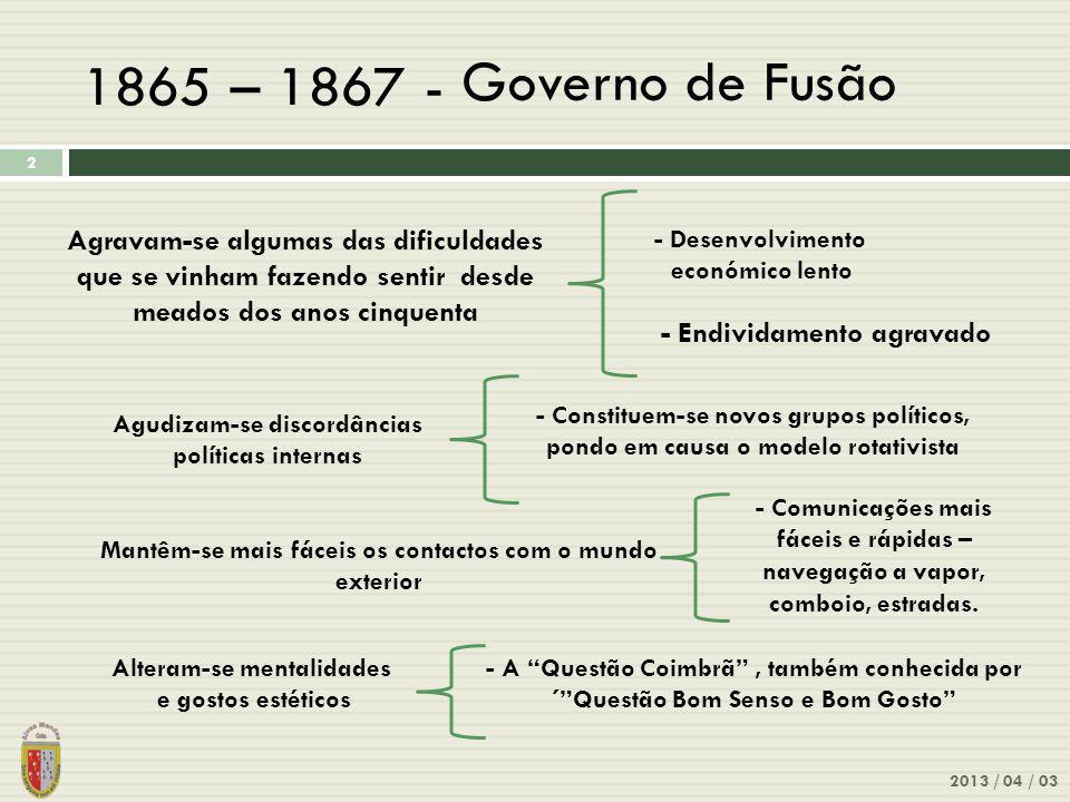 1865 – 1867 - Governo de Fusão. Agravam-se algumas das dificuldades que se vinham fazendo sentir desde meados dos anos cinquenta.