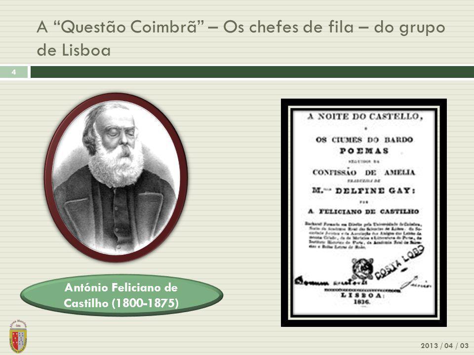 A Questão Coimbrã – Os chefes de fila – do grupo de Lisboa
