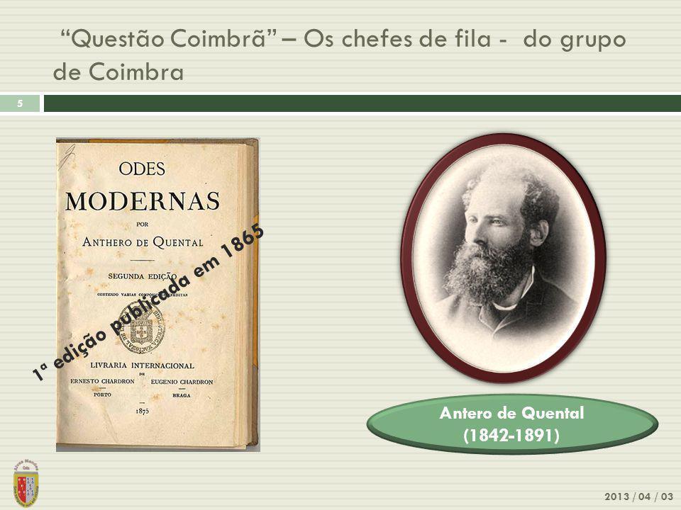 Questão Coimbrã – Os chefes de fila - do grupo de Coimbra