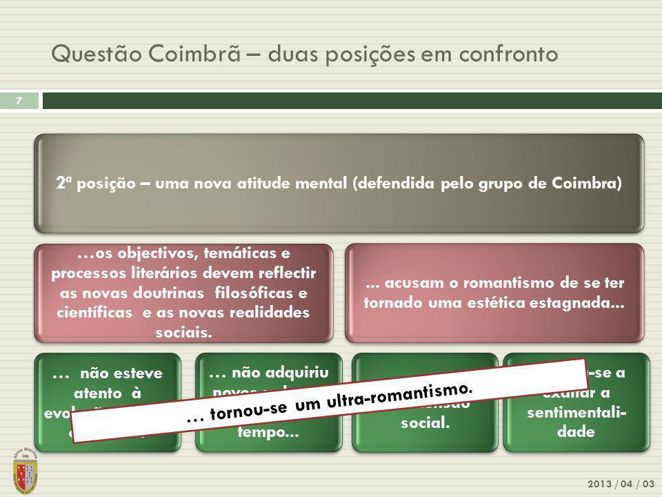 Questão Coimbrã – duas posições em confronto
