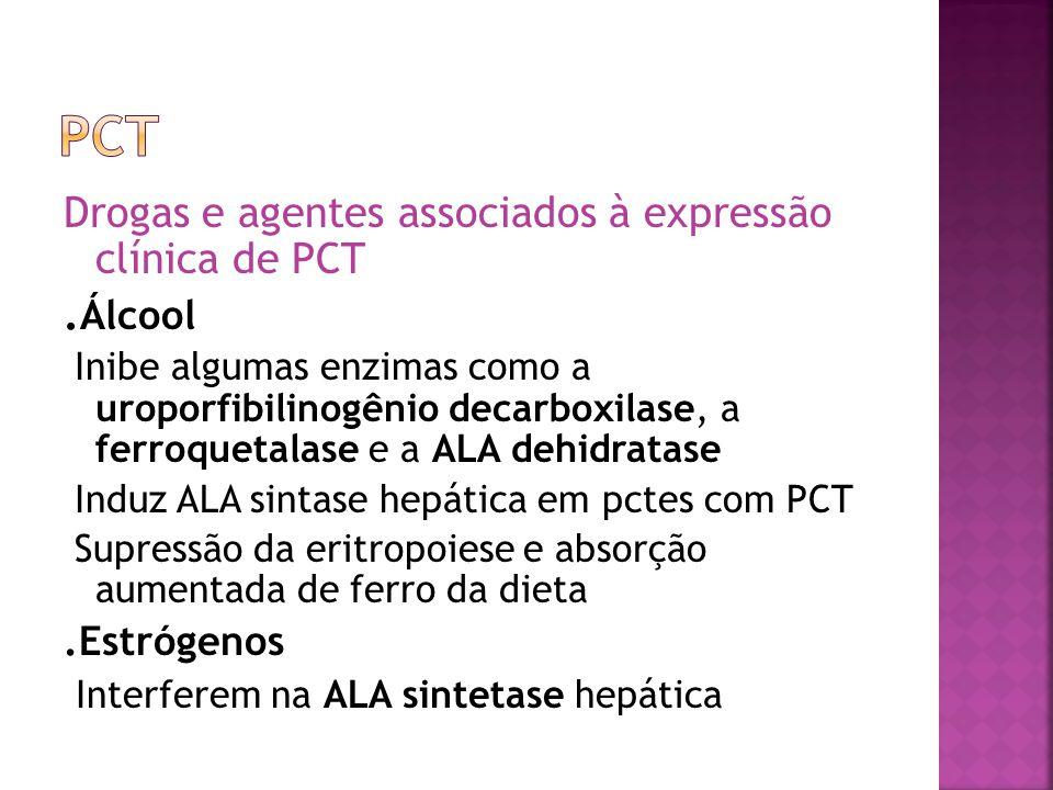 PCT .Álcool Drogas e agentes associados à expressão clínica de PCT