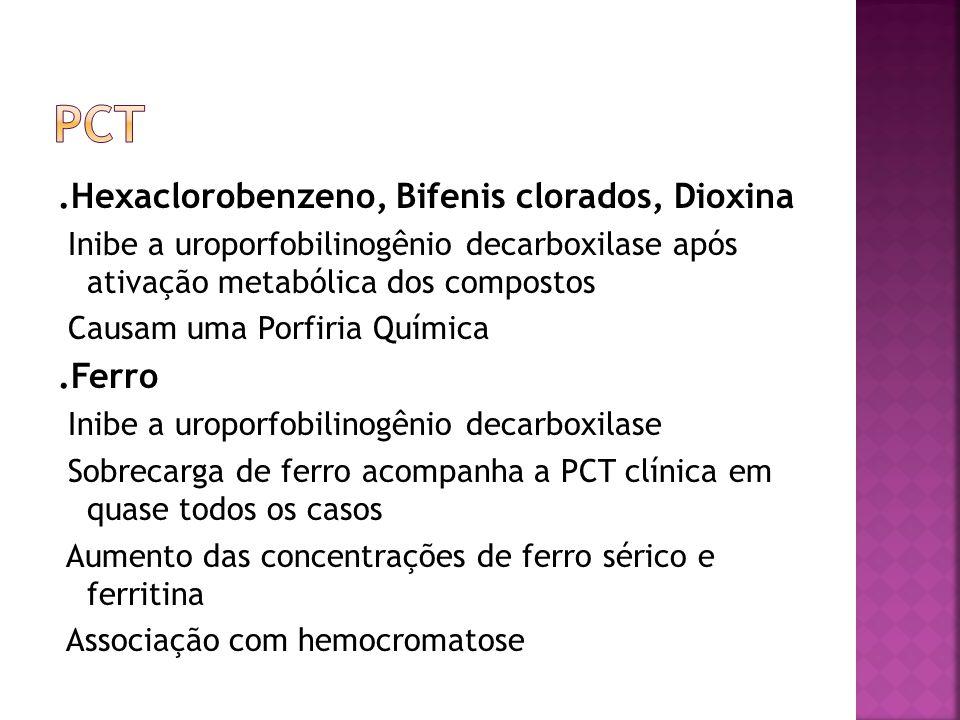 PCT .Hexaclorobenzeno, Bifenis clorados, Dioxina .Ferro
