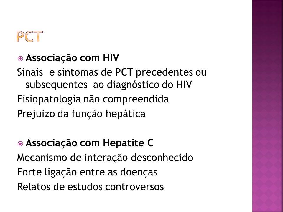 PCT Associação com HIV. Sinais e sintomas de PCT precedentes ou subsequentes ao diagnóstico do HIV.