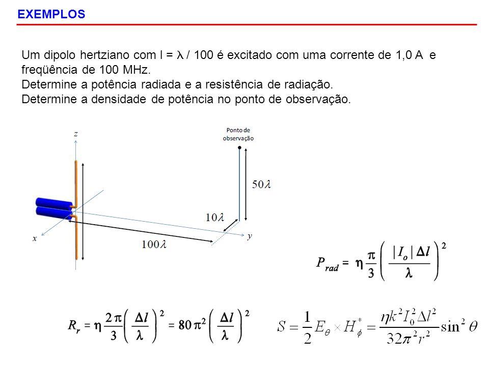 EXEMPLOS Um dipolo hertziano com l = l / 100 é excitado com uma corrente de 1,0 A e freqüência de 100 MHz.