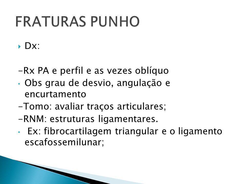 FRATURAS PUNHO Dx: -Rx PA e perfil e as vezes oblíquo