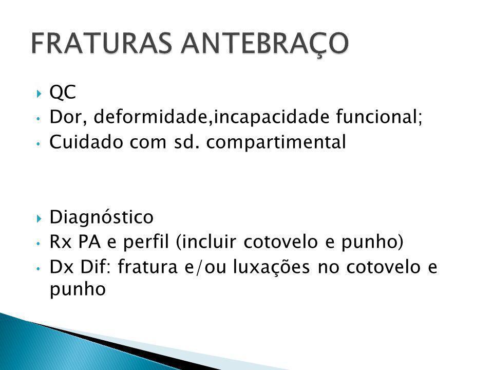 FRATURAS ANTEBRAÇO QC Dor, deformidade,incapacidade funcional;