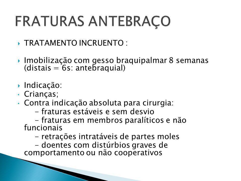 FRATURAS ANTEBRAÇO TRATAMENTO INCRUENTO :