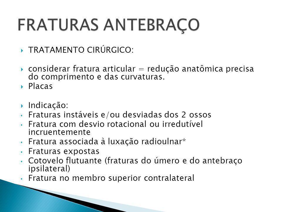 FRATURAS ANTEBRAÇO TRATAMENTO CIRÚRGICO: