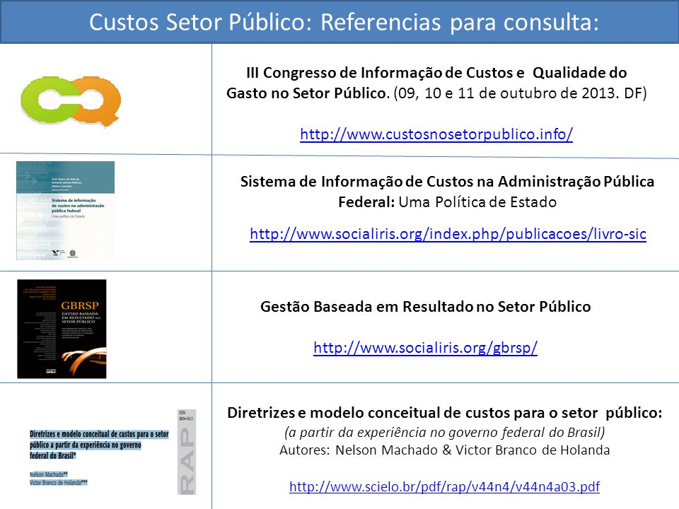 Custos Setor Público: Referencias para consulta: