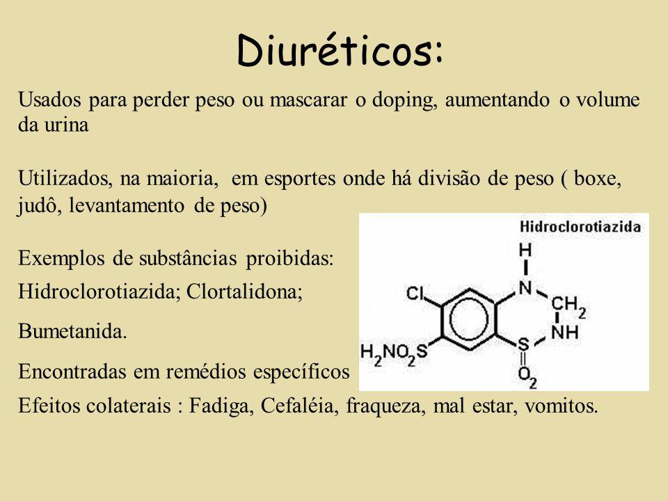 Diuréticos: Usados para perder peso ou mascarar o doping, aumentando o volume da urina.