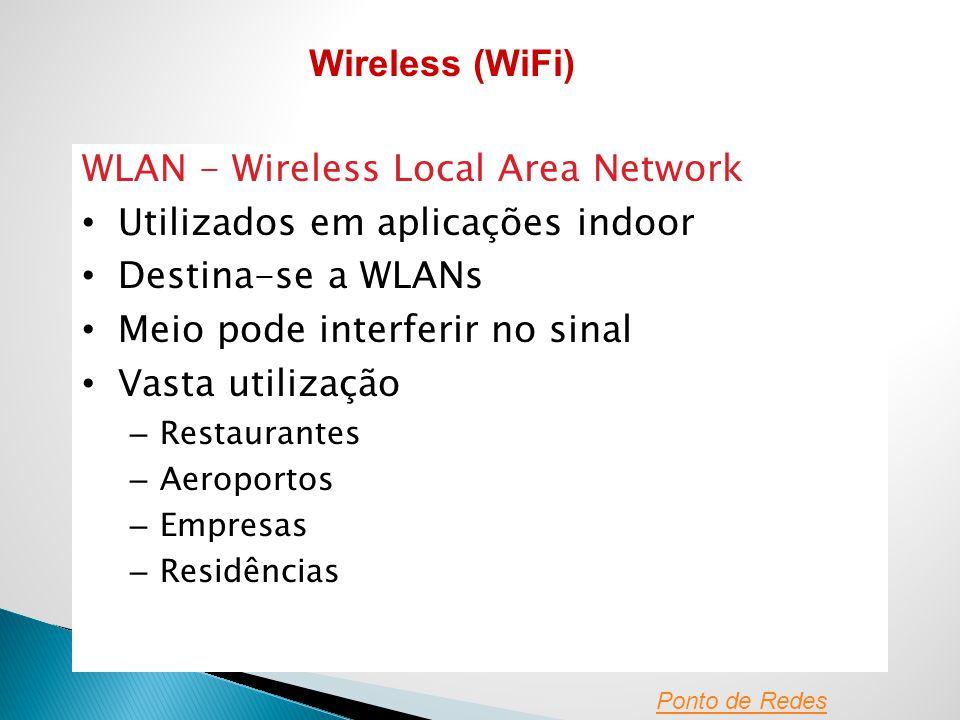 WLAN - Wireless Local Area Network Utilizados em aplicações indoor